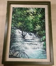 Original Oil Painting On Canvas Summer Swimming Hole Children Waterfall Signed