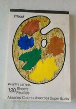 Vintage Mead Paper Pad Multi Color PALETTE Letters 120 Sheets USA
