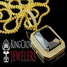 Sterling Silver Mens Blue Sapphire Pendant Rick Ross 14K Gold Finish Lab Diamond