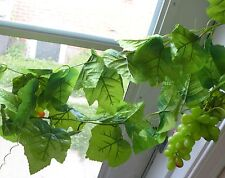 64 Leaves Artificial Grape Leaf Vine Garland (With 3 Green Bunch Grapes)