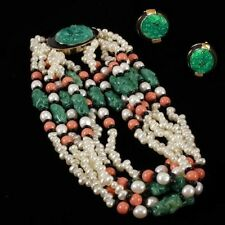 KJL KENNETH J. LANE Faux Pearl, Jade, Onyx & Coral Beads Torsade Necklace & ER's