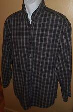 Sz M Mens' Union Bay Black Blue Plaid Long Sleeve Button Front Shirt