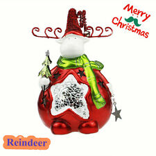 CERAMIC CHRISTMAS REINDEER CANDLE HOLDER TEA LIGHT STAR COLLAGLASS DECORATION