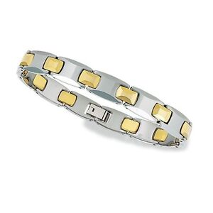 Gold & Shiny Tungsten Men's New Link Bracelet with Therapeutic Magnets