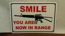 "Smile In Range Gun Bullet Protection Ar 15 10""X7"" Man Cave Polystyrene Sign Sa07"