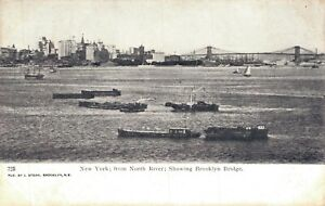 USA New York Park from North River Showing Brooklyn Bridge 06.97