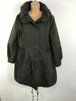 WOMENS HEXILE BROWN ZIP/BUTTON UP WINTER COAT JACKET WITH DETACHABLE HOOD UK L