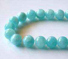 50pcs 8mm Round Gemstone Beads - Malaysian Jade - Opaque Aqua