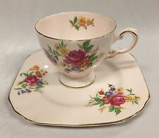 Vintage Tuscan China Pale Baby Pink and Floral Tea Cup and Cake Plate