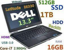 """Dell  E6330 i7-3520M 2.90GHz (DVDRW 512GB SSD + 1TB 16GB) 13.3"""" HDMI New BATTERY"""