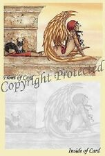 Amy Brown Golden Cat Wings Fairy Greeting Card Faery