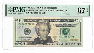 2017 $20 SAN FRANCISCO FRN, PMG SUPERB GEM UNCIRCULATED 67 EPQ BANKNOTE