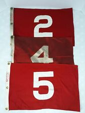 Vintage Golf Flags Set of 3 - 2, 4 and 5 Red and White