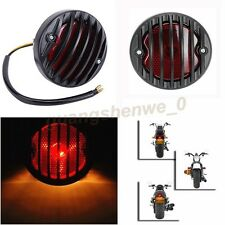 Motorcycle Black Round LED Tail Plastic Grille Ribbed Red Lens Brake Light US K