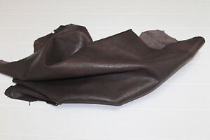 Italian Lambskin vegetable tan leather skin WASHED ANTIQUED BROWN 7+sqf #A2477