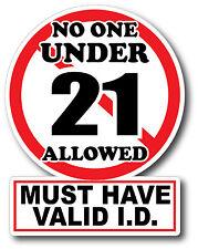 V2 No One Under 21 Sticker Decal High Quality Glossy Decal Restaurant Bar