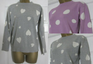 New M&S Womens Pure Cotton Crew Neck Jumper Top Hearts Spot Print Size 6-22