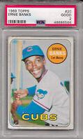 1969 TOPPS #20 ERNIE BANKS CHICAGO CUBS MLB BASEBALL HALL OF FAME PSA 2 GOOD