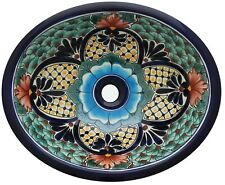 "16"" X 11.5"" Talavera Ceramic Mexican Bathroom Sink Handmade Folk Art  # 71"