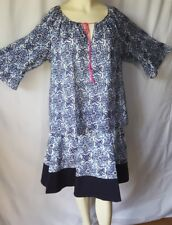 Milly for DesigNation Geometric Tile Pleated Skirt And Top Blouse Set Sz XL Blue