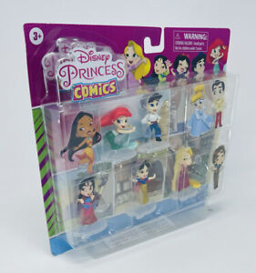 "Disney Princess Comics Glitter Series 5 Pack of 2"" Figures Ariel Mulan Snow NIB"
