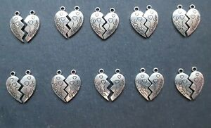 20 x Mother Daughter Puzzle Piece Pendant Charms, 21 x 21 mm, Jewellery Making