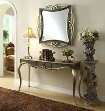 Console Mirror Set French Wood Table Hall Champagne Pewter Silver Antique Style