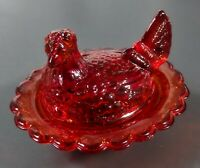 Chicken Hen Nest Covered Dish Ruby Red Glass Mosser Stamped Excellent Cond.