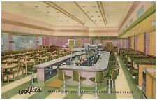 Wolfies Restaurant Sandwhich Shop Miami Beach FL Interior Linen Postcard