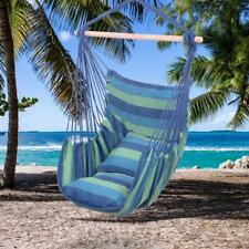 ~Mgj~ Misc~ Hammock Hanging Rope Chair Swing Seat Patio Camping /w 2 Pillows Blu