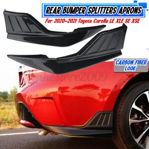 Carbon Fiber Rear Bumper Corner Apron For Toyota Corolla LE XLE SE XSE 2020-2021