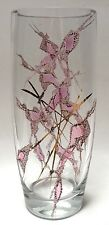 Clear Art Glass Flower Vase Concave Center Pink Gold Applied Design French?