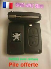 Coque clé plip boitier 2 boutons Peugeot 207,307,308,3008,5008.réf:CE0523 + pile