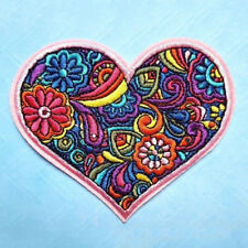 Colorful Flower Heart Embroidered Sew On Iron On Patch Badge Bag Fabric Applique