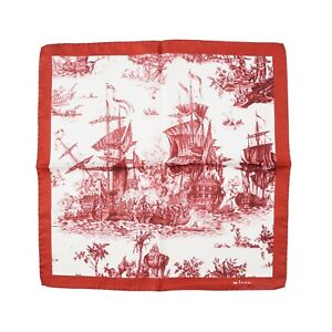 Kiton Napoli Burgundy Red Naval Ship Battle Print Silk Pocket Square