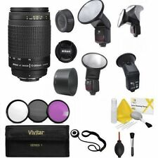 Nikon 70-300mm F/4-5.6 G + PRO LED AF FLASH + HB-26 HOOD + FILTERS KIT + CL KIT