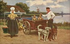 Working Dogs Pulling Milk Wagon in Holland c1910 Postcard #3