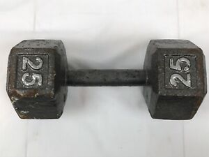 Single 25 lb Dumbbell Cast Iron Hex Rusted
