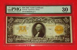 {USA<1922 $20 Gold Certificate< FR-1187< Grade VF-30 / S/N# K73946439 / Scarce!}