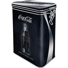 Vintage Style Retro Embossed Coca Cola Tin with Clip Close Lid - Black & Silver