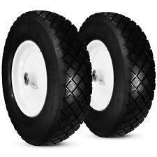 "2 New T120 Tread 16"" 4.80/4.00-8"" Flatfree Wheelbarrow Tires Hub 3-6"" Bore 5/8"""