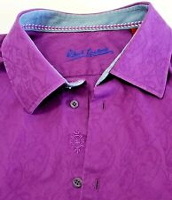 Robert Graham Shirt 34/35 BIG Solid Purple Embroidered Long Sleeve French Cuff
