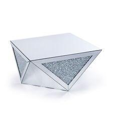 Modern Crushed diamond mirrored sparkle glitz coffee table, square mirror table