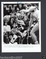 Moses Malone 1989 Hawks Vintage 7x9 Glossy A/P Wire Photo with caption & Notes