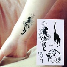 Flash Einmal Temporary Klebe Tattoo Katze Schwarz Körper Body Party Geschenk WOW