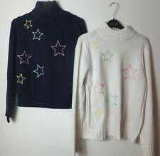 New Women's Next Blue and White Cotton Blend Star Jumpers Size XS-XL
