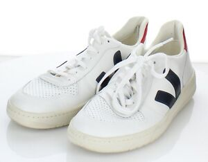 O50 $150 Women's Sz 11 M Veja V-10 Leather Lace Up Sneakers In White/Navy/Red