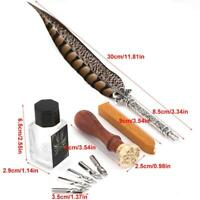 Natural Quill Feather Dip Pen Ink Writing Kits Stationery Gift Box Fountain Pen