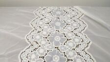 Pair Vintage Lace Curtains with Embroidered Cut Out Floral Design white/blue