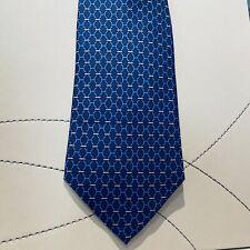 Cravatta HERMES Paris Blu 100% Seta - HERMES TIE 100% SILK
